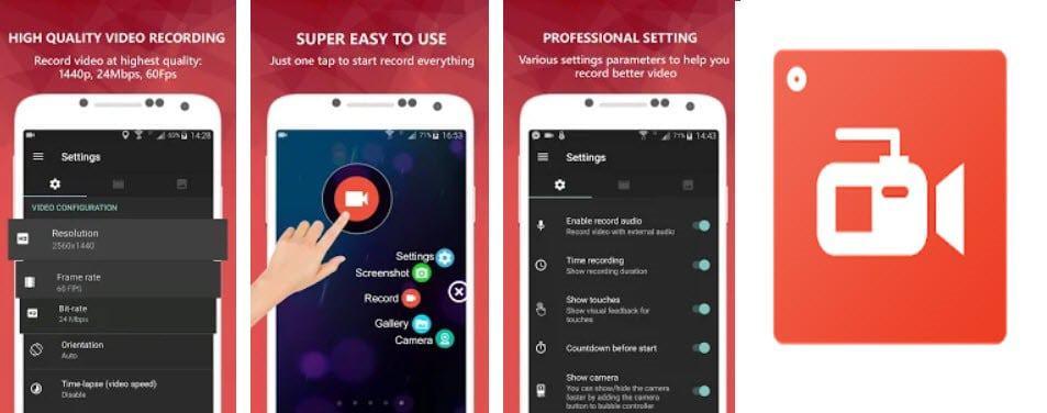 تنزيل تطبيق تسجيل فيديو شاشة الاندرويد بدون روت
